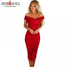 SEBOWEL 2018 Sexy Red Lace Bardot Party Midi Dress Women Short Sleeves Off  Shoulder Bodycon Dresses 303f346d0c2f