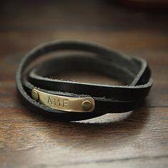 Men's Personalized WRAP Bracelet Men's Genuine by July8Designs