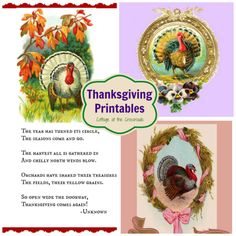 Free Thanksgiving Printables - Cottage at the Crossroads Vintage Thanksgiving, Thanksgiving Crafts, Thanksgiving Decorations, Holiday Crafts, Holiday Fun, Thanksgiving Activities, Free Thanksgiving Printables, Free Printables, Holidays And Events