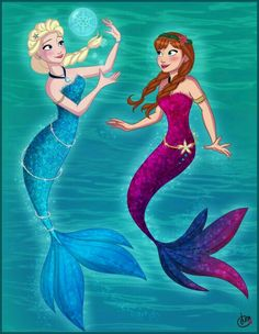 Elsa and Anna mermaid