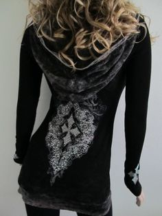 Vocal Crystals Cross Mineral Wash Thermal Black Hoodie Shirt Rodeo Sexy S M L XL #Vocal #EmbellishedTee