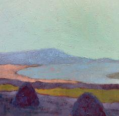 "Hay and Fog.  A 12 x 12"" painting on canvas  by Elizabeth Osborne    tags:  landscape hayroll haystack serene art morning painter purple"