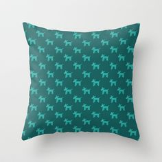 Dogs-Teal Throw Pillow by ts55 - $20.00
