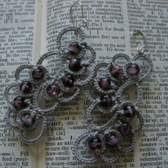 Unique modern frivolite lace earrings with beads