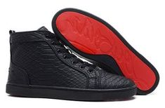 louie vuitton black studded, red bottom sneakers | fashion Red bottom shoes Louis men's flats python high top sneakers ...