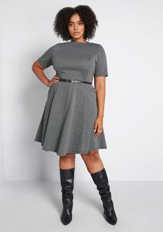 Taking inspiration from bygone eras, this black fit-and-flare dress is one that any fashionista will love. An offering from our ModCloth namesake label, this knee-length piece features a removable belt, small dot print, and soft ponte knit fabric. Work Dresses For Women, Unique Dresses, Professional Dresses, Retro Dress, Cotton Dresses, Dresses Dresses, Modcloth, Formal Wear, Flare Dress