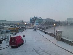 Snow on the Plymouth Barbican 2011