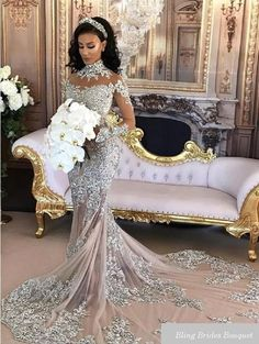 8677387f578 Sexy Sheer Bling Beaded Lace High Neck Illusion Long Sleeve Mermaid Bridal  Gowns Wedding Dresses 2018