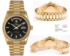 This watch is an Authentic Rolex Mens New Style Heavy Band 18K Yellow Gold President Day Date Model 118238 Solid 18K Yellow Gold President Band with an 18K Gold Fluted Bezel and a Black Stick Dial. The watch is in Mint Day one condition and comes with all box, booklets, tags, and all applicable paperwork.