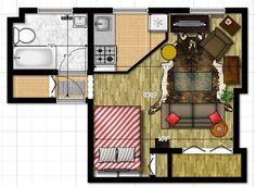Plano y decoración de un departamento de 28 m2