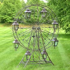 """Large Iron Ferris Wheel """"Atlantic"""" with 8 Hanging Lanterns in Antique Brown/Blue (Iron - Antique Bronze - Assembly Required), Outdoor Décor Lawn And Garden, Home And Garden, Garden Bed, Flower Cart, Diy Bird Feeder, Metal Garden Art, Metal Art, Hanging Lanterns, Glass Lanterns"""
