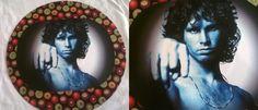 Quadrinho Jim Morrison de vinil e colagem de tecido e recorte!