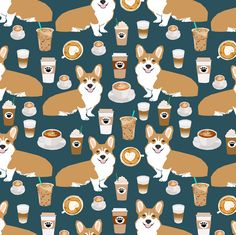 © Pet Friendly - Dogs and Coffee fabric.  Best corgis and coffees fabric for trendy decor and home textiles. Corgi owners will love this cute and trendy dogs and coffee fabric print.
