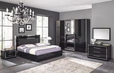 Chambre adulte complète design STEF, coloris noir laqué, Chambre adulte complète - HcommeHome
