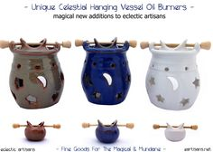 *New Items In Stock- How Unique are these Celestial Hanging Vessel Fragrance Oil Burners? What makes these unique is how the oil vessels hang over the tea lights. Each Vessel holds a generous portion of liquid as well. Coming in White, Blue and Green, each comes with star & moon cutouts which allow light to flicker, dance and cast shadows about your room, which will allow for a relaxing aromatherapy experience. These are extremely popular and will go quickly! Get yours today!