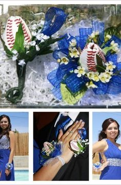 Dodgers and Baseball Roses – Prom 2013  James is a H.S. Baseball player and Ashley was raised in a baseball family, so Baseball Roses were an awesome fit. They decided to go with a Dodger Blue attire for their prom and received many compliments on their Baseball Roses! We added the Blue ribbon to make them stand out even more.They looked perfect. Thank you!