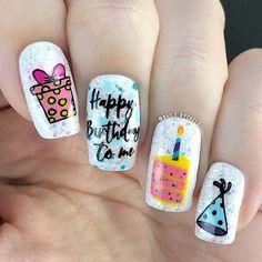 Birthday Nail Art, Birthday Nail Designs, Matt Nails, Pretty Nail Designs, Simple Nail Designs, Sparkle Nails, Fun Nails, Acrylic Nail Designs, Nail Art Designs