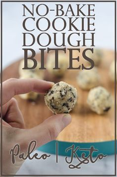 Delicious no-bake cookie dough bites! Perfect for when you really want to dip your spoon into that batter before it cooks, but with none of the worries of consuming raw eggs. Gluten-free, grain-free, dairy-free, sugar-free, Paleo, low-carb, ketogenic. #keto #glutenfree #sugarfree #paleo