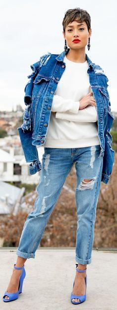 Levi's Blue Women's Vintage Shredded Denim Jacket by Micah Gianneli