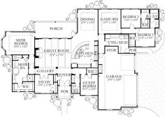 2889 square feet, 3 batrooms, 3 parking space, on 1 levels, Floor Plan Number 1 5 Bedroom House Plans, Dream House Plans, House Floor Plans, My Dream Home, The Plan, How To Plan, Plan Plan, Building Plans, Building A House