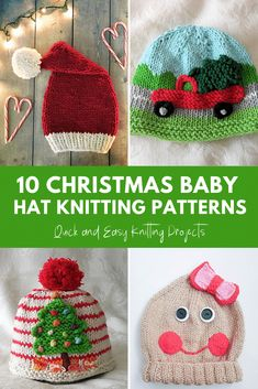 10 Baby Christmas Hat Knitting Patterns - they are all so cute and easy to knit! 10 Baby Christmas Hat Knitting Patterns - they are all so cute and easy to knit! Knitted Hats Kids, Baby Hats Knitting, Knitting For Kids, Free Knitting, Crochet Hats, Knitted Bunnies, Christmas Knitting Patterns, Baby Knitting Patterns, Crochet Pattern