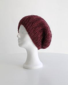 e52329d8bc9 Hand knit slouchy beanie hat for women in dark rose mohair warm