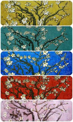 Van Gogh- Branches of an Almond Tree in Blossom. Choose your color palette at www.overstockArt.com