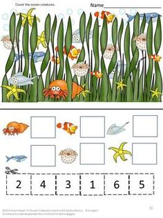 Counting Ocean Creatures Cut and Paste packet. Students in preschool, P-K, K, Special Needs and Autism classrooms will improve their counting skills with these Ocean inspired counting worksheets. Math Literacy, Preschool Math, Kindergarten Math, Literacy Skills, Ocean Activities, Animal Activities, Easel Activities, Alphabet Activities, Kindergarten Special Education