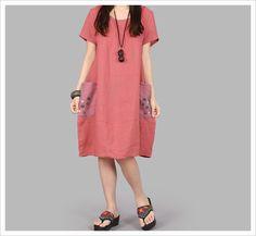 Vestido de linho solto verão, primavera ladies mulheres gaze botões decorativos bolso casuais tamanho grande de algodão em Vestidos de Roupas e Acessórios no AliExpress.com   Alibaba Group