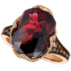 Le Vian Chocolatier Pomegranate Garnet (6-9/10 ct. t.w.) and Diamond... ($2,200) ❤ liked on Polyvore featuring jewelry, rings, red, rose gold garnet ring, garnet diamond ring, diamond jewelry, 14k ring and round diamond ring