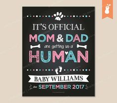 PRINTABLE  Getting a Human Pregnancy Reveal Announcement Sign