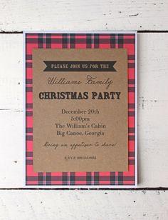 Christmas Party Invitation Family Reunion Holiday Party Invite Custom Christmas Card Family Christmas Tartan Plaid Kraft Paper Card Rustic