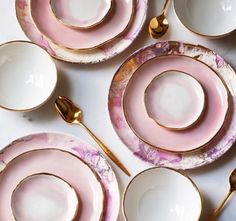 Pink & Gold marble China
