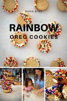 Chocolate dipped, rainbow sprinkled oreos for birthday parties, Saint Patricks Day, Spring, Easter, Kid snack
