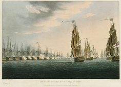 The Battle of the Nile. An engraved print showing a tightly packed line of 13 warships flying the French flag. The ships are firing on eight ships flying the British flag that are steadily approaching them from the right of the picture.