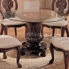 Round glass dining set West Elm Coaster Tabitha Traditional Round Dining Table With Glass Top In Dark Cherry Cymax Coaster Tabitha Traditional Round Dining Table With Glass Top In Round Dining Room Sets, Glass Round Dining Table, Pedestal Dining Table, Glass Table, Round Glass, Dining Rooms, Round Tables, Dining Chair, Dining Area