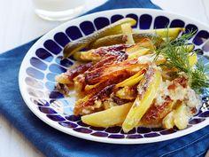 Lasagna, Waffles, French Toast, Good Food, Potatoes, Breakfast, Ethnic Recipes, Koti, Food Food