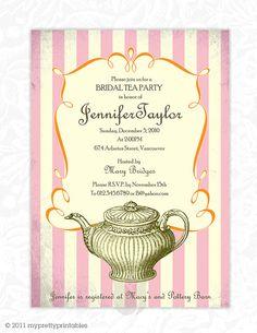 Bridal Tea party invitation/ Wedding or Bridal shower, birthday party