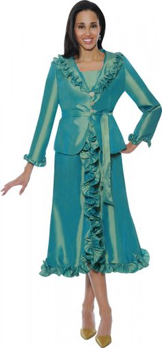 2 Piece Church Dress By Nubiano - Divine Church Suits Sunday Church Suits, Women Church Suits, Church Attire, Church Dresses, Church Outfits, Suits For Women, Formal Dresses, Dresses 2014, Teal Suit