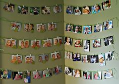 Really cute way to post photos in a corner of party room. Approx. 50 photos, ribbon & mini clothespins