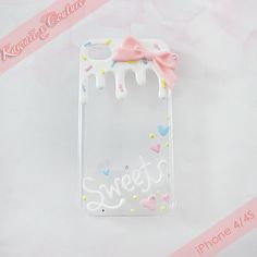 "-READY TO SHIP-  This listing is for a Custom Handmade iPhone 4/4S Decoden Case -- A clear acrylic back case dripping with super sweet funfetti sprinkles cupcake frosting and topped with an adorable pink bow and handwritten ""Sweet"" message on the bottom! Perfect for anyone with a sweet tooth! ♡..."