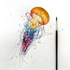 Great orange-headed jellyfish with splashed watercolor tentacles tattoo design - quallen - Jellyfish Drawing, Watercolor Jellyfish, Jellyfish Painting, Jellyfish Tattoo, Watercolor Paintings, Jellyfish Quotes, Pet Jellyfish, Jellyfish Sting, Jellyfish Light