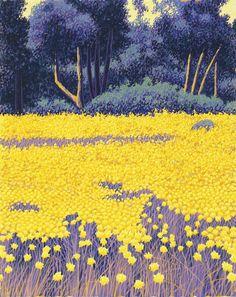 Gordon Mortensen - Golden Meadow. Reduction woodcut