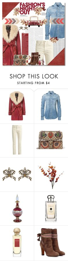 """""""MARC JACOBS: Red Leather Waist Coat"""" by polyvore-suzyq ❤ liked on Polyvore featuring Marc Jacobs, Givenchy, Brock Collection, Gucci, Fashion's Night Out, Jo Malone, Hermès and Etro"""