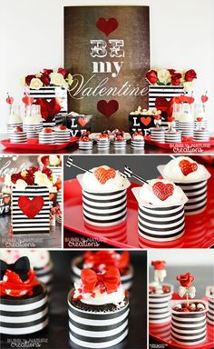 Valentine's Day Party with Easy to Make Desserts! Love this black, white, and red theme for a chic Valentine's Day party.