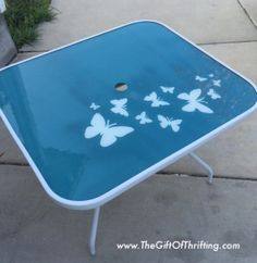 Painted Glass Patio Table