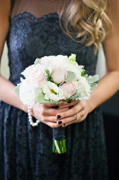 this gorgeous soft pastel bridesmaid bouquet perfectly compliments the dark gray dress. see more images from Meg Sexton Photography here http://www.weddingchicks.com/vendor-guide/meg-sexton-photography