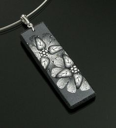 Black & White Floral Necklace  - Flower Necklace - Clay Necklace - Polymer Clay Jewelry - Clay Jewelry - Silver Jewelry