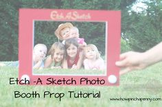 This blogger share with you she makes this Etch A Sketch Photo Booth prop! Great for Toy Story themed birthday parties.