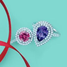 Tiffany Soleste® rings in platinum with diamonds, from left: pink tourmaline and tanzanite. #TiffanyPinterest